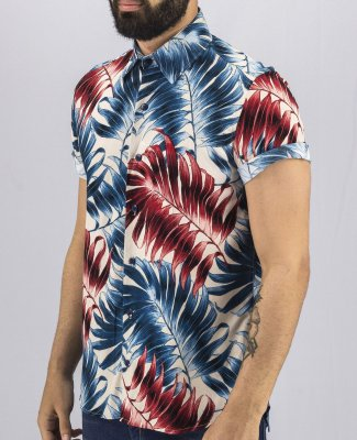 Camisa Estampada Floral Masculina Azul