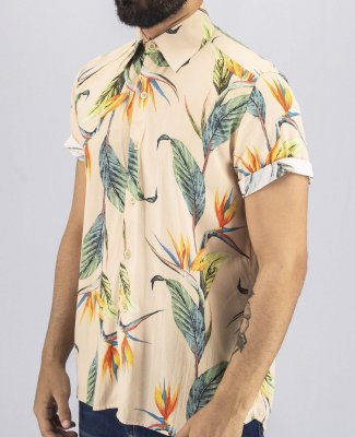 Camisa Estampada Masculina Tropical