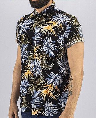 Camisa Estampada Masculina Preta