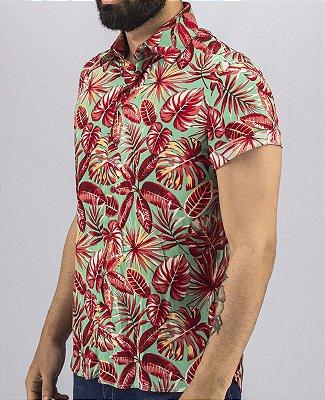 Camisa de Botão Florida Masculina Folhas