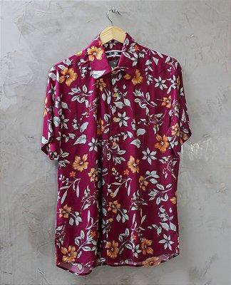 Camisa de Botão Vinho Orange Flowers