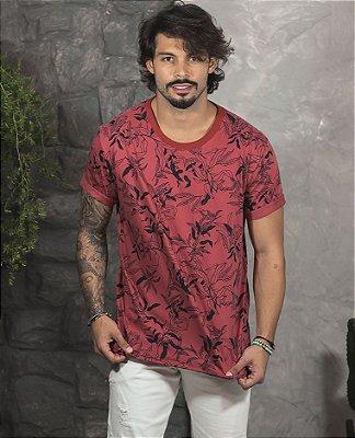 Camiseta Gola Careca Vermelha Floral