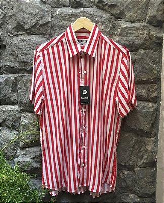 Camisa de Botão Listras Vermelhas Marinheiro