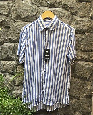 Camisa de Botão Listras Azuis Marinheiro