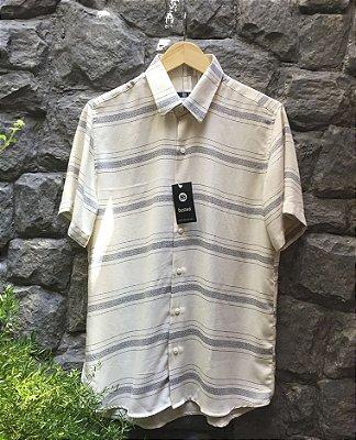 Camisa de Botão Linho Off-White Listrado