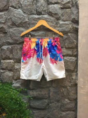 Beach Short Off-White Tropical