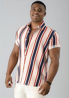 Camisa de Botão de Linho Listrado Espinela