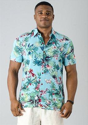 Camisa de Botão Verde Floral