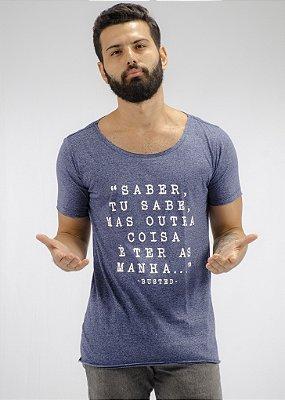 Camiseta Gola Canoa Mescla Marinho Saber tu Sabe ...
