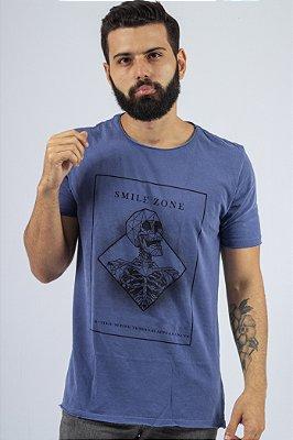 Camiseta Gola Redonda a Fio Azul Smile Zone
