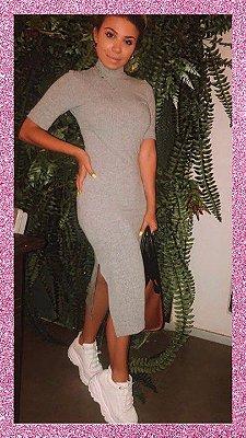 Vestido Mid Canelado Cinza