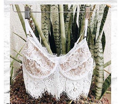 Cropped Renda Branco com Forro Nude