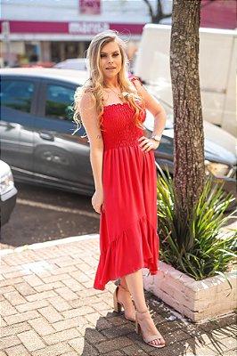 Vestido Mullet Lastex Vermelho