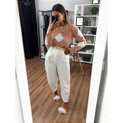 Blusa Mousse Laila - Rosa com Branco