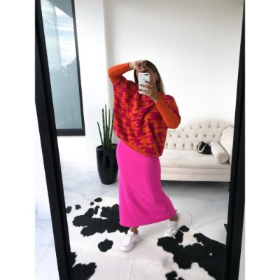 Blusa Ampla Pied - Laranja com Pink
