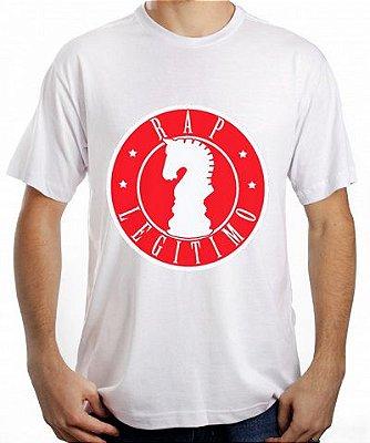 Camiseta Rap Legítimo, branca e vermelha