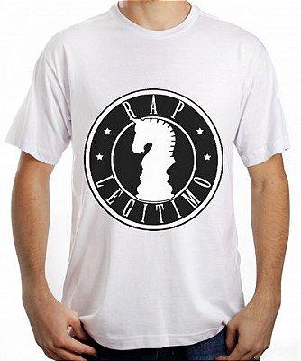Camiseta Rap Legítimo, branca e preto