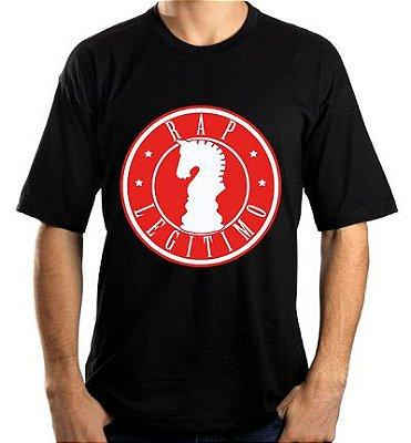 Camiseta Rap Legítimo, preta e vermelho