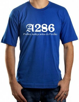 Camiseta A286, azul royal e branca