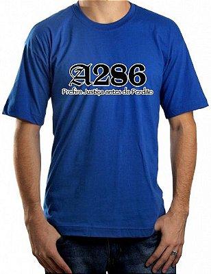 Camiseta A286, azul royal e preta/branca