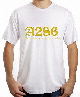 Camiseta A286, branca e dourado