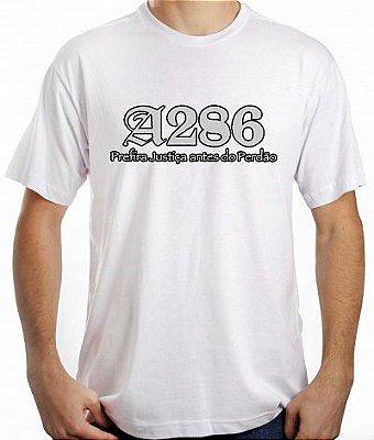 Camiseta A286, branca e prata/preto