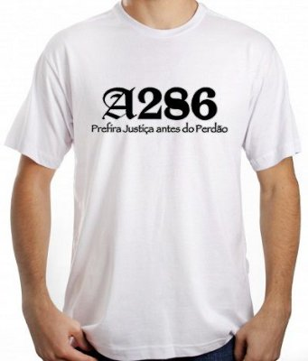Camiseta A286, branca e preta/prata