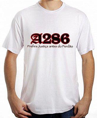 Camiseta A286, branca e preto/vermelho