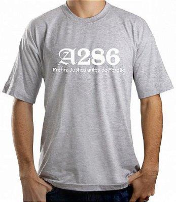Camiseta A286, cinza e branca