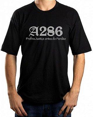 Camiseta A286, preta e prata