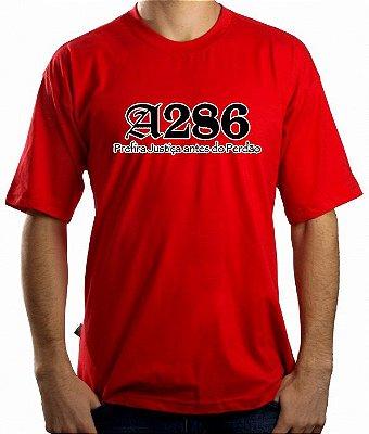 Camiseta A286, vermelha e preto/branco
