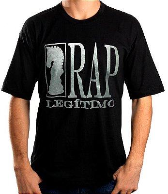 Camiseta Rap Legítimo, preta e prata