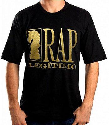 Camiseta Rap Legítimo, preta e dourada