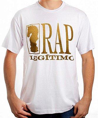 Camiseta Rap Legítimo, branca e dourada