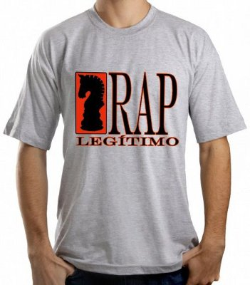 Camiseta Rap Legítimo, cinza e preta/branca