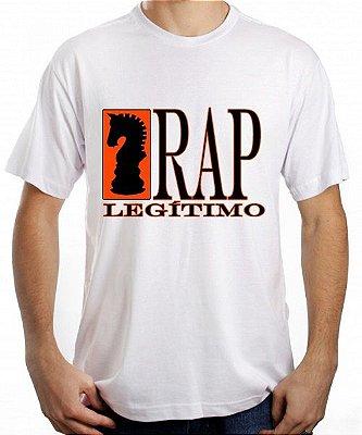 Camiseta Rap Legítimo, branca e preta/laranja