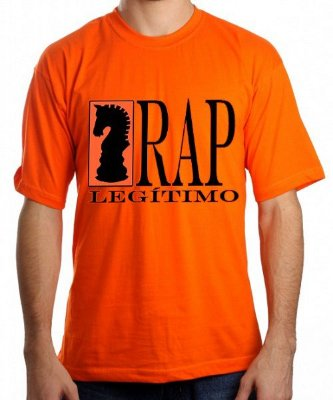 Camiseta Rap Legitimo, laranja e preto/branca