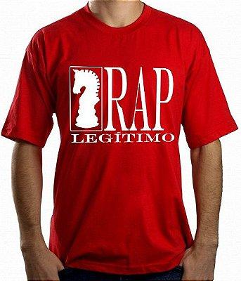 Camiseta Rap Legítimo, vermelha e branca