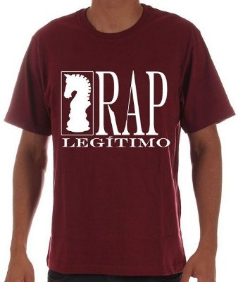 Camiseta Rap Legítimo, vinho e branca