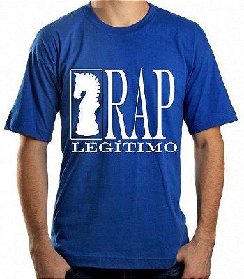 Camiseta Rap Legítimo, azul e branca