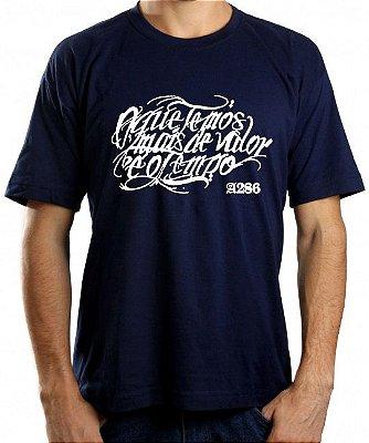 Camiseta A286, O que temos mais de valor é o tempo, azul marinho