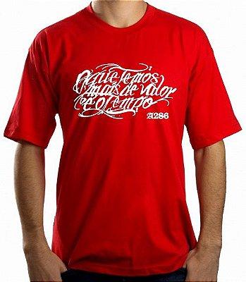 Camiseta A286, O que temos mais de valor é o tempo, vermelha