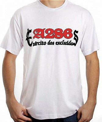 Camiseta A286, Exército dos Excluídos, branca e vermelha