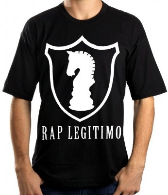 Camiseta Rap Legítimo, escudo, preta e branca