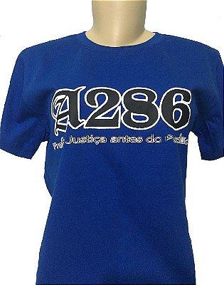 Baby look A286, azul e preta