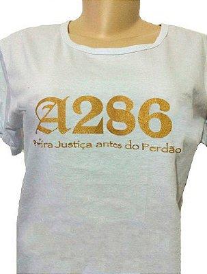 Baby look A286, branca e dourada