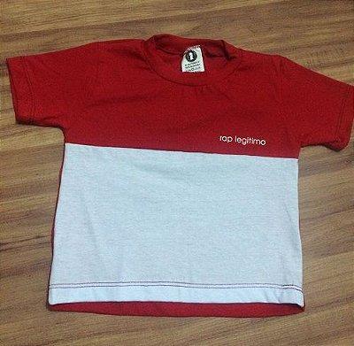 Camiseta Rap Legitimo, vermelha e branca, infantil