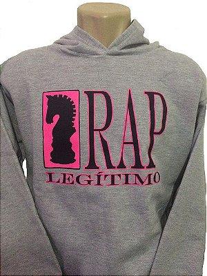 Moletom Rap Legítimo, cinza e rosa