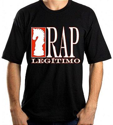 Camiseta Rap Legítimo, preta e branca/laranja
