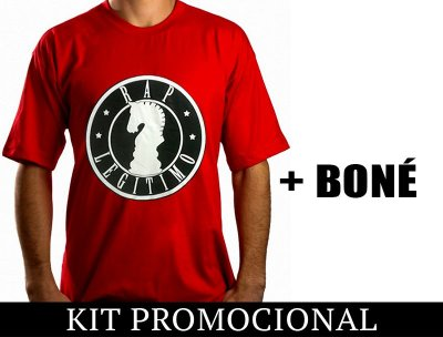 Kit Camiseta vermelho e preto + Boné Rap Legítimo